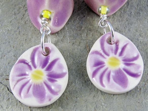 handmade lilac and yellow ceramic flower earrings