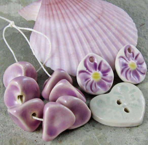 lilac ceramic beads and flower drops