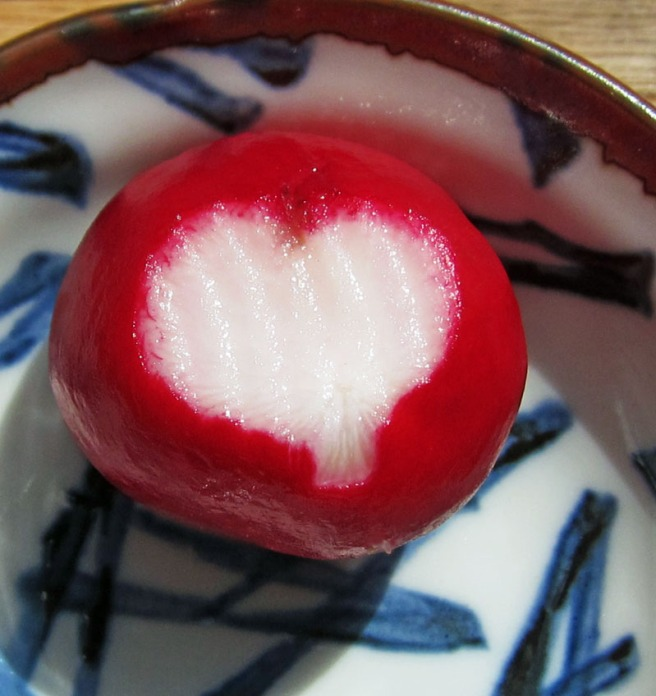 heart shape on a radish