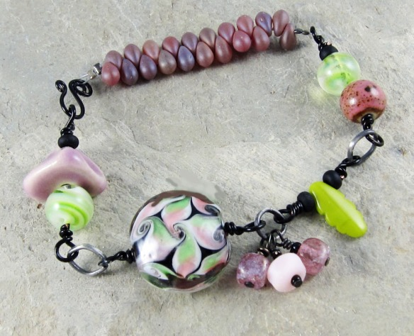 Purple Green Bracelet Handmade Ceramic Bead Lampwork Glass Handwired