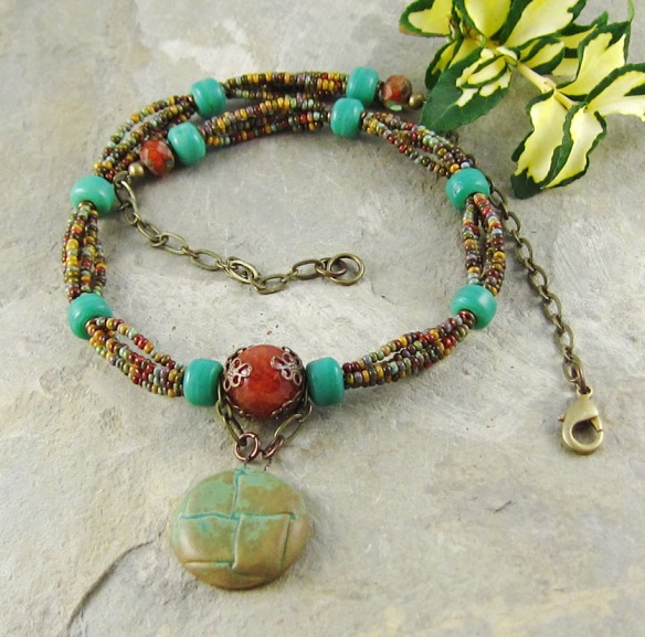 Multistrand Necklace Rustic Handmade Ceramic Pendant Green Orange