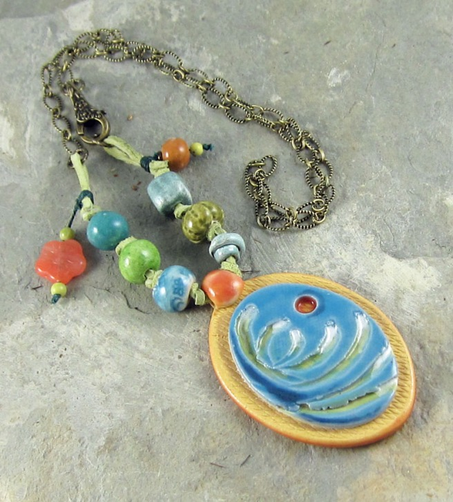 porcelain pendant necklace, ceramic beads, handmade