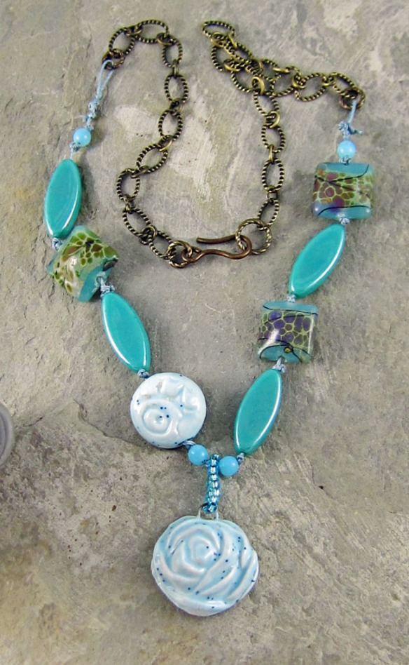 Handmade blue ceramic necklace