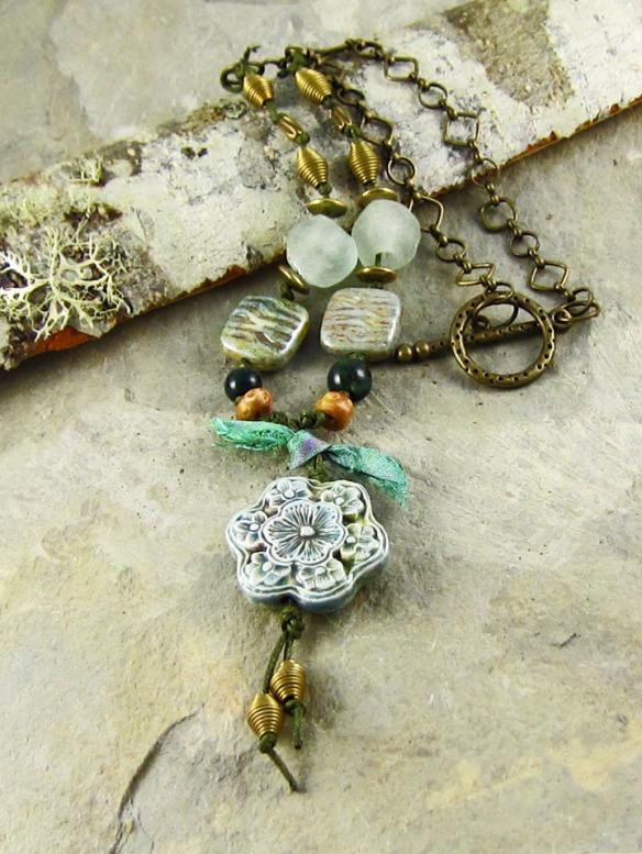 Handmade blue floral necklace, Linda Landig Jewelry