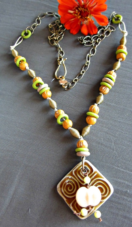 brown and green one of a kind necklace