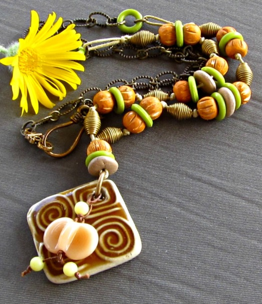 green and brown handmade necklace