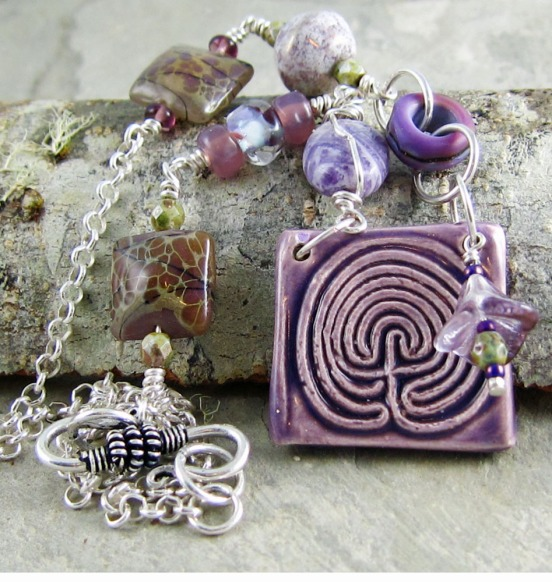 Handmade necklace with ceramic and lampwork