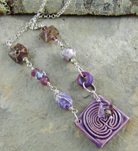 purple and green handmade necklace