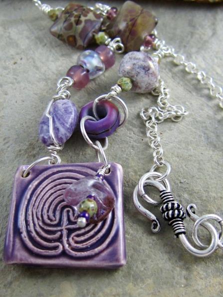 Handmade ceramic and lampwork necklace by Linda Landig Jewelry