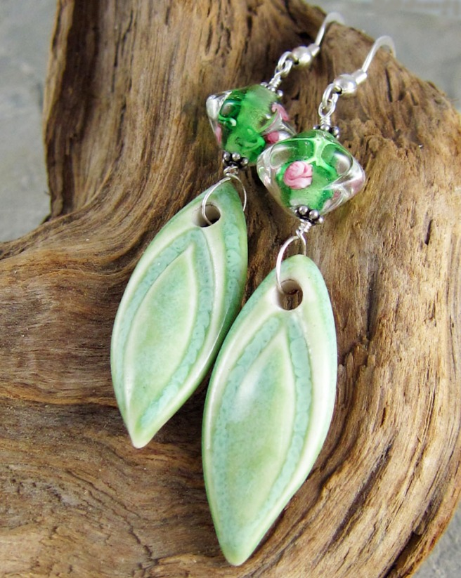 handmade ceramic and glass earrings