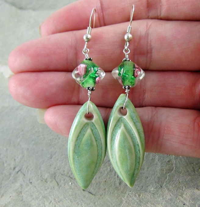 handmade ceramic and glass bead earrings.