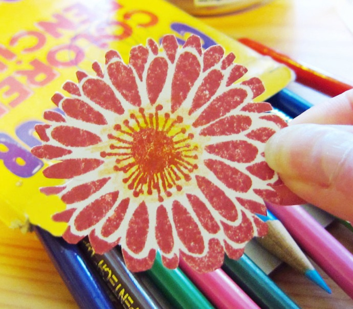 Stamped and cut-out flower