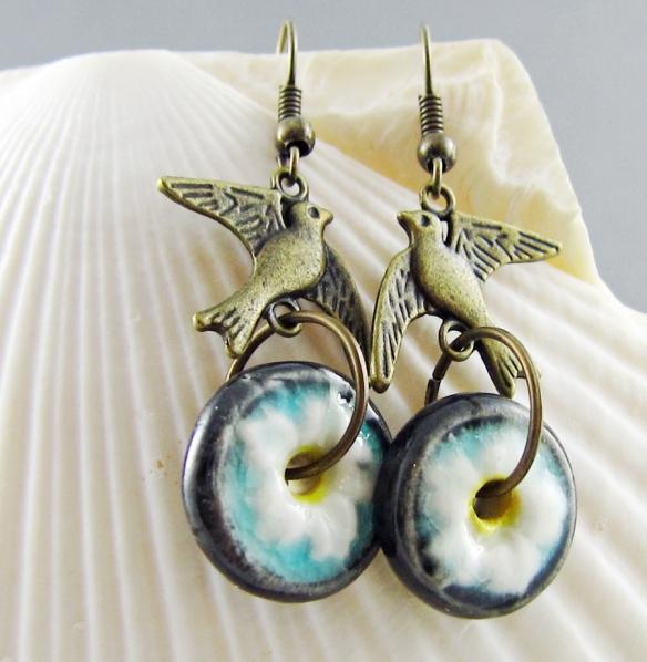 Flower and bird handmade earrings