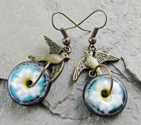 Handmade Flower and bird earrings