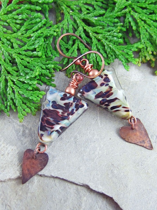 lampwork and copper handmade earrings