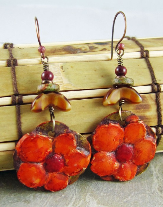 Handmade orange, flower earrings