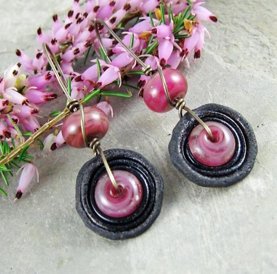 violet and black handmade earrings