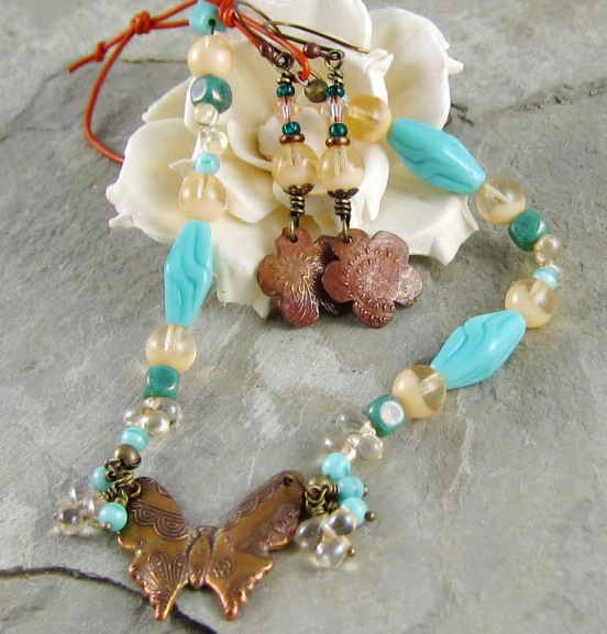 bronze clay handmade earrings and necklace