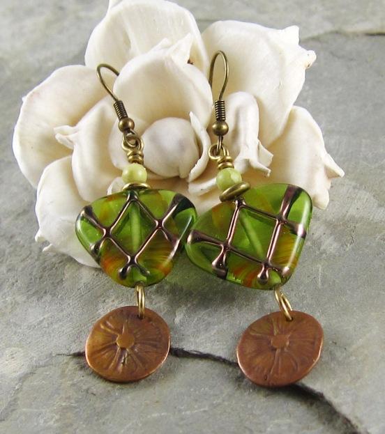 green and bronze handmade earrings