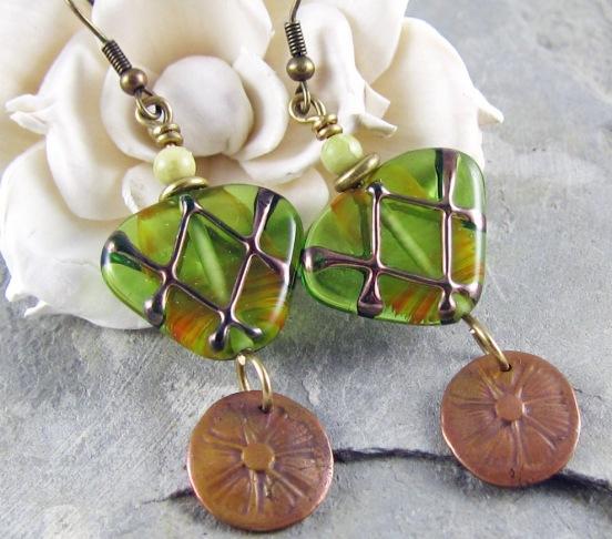 Handmade bronze clay flower earrings