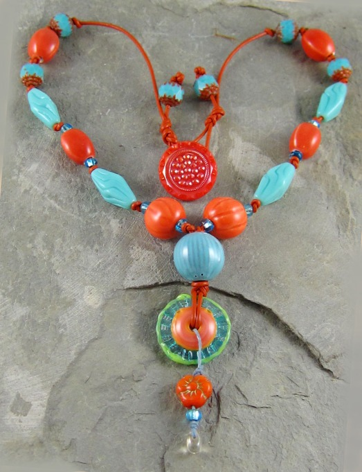 necklace with handmade glass, ceramic and enamel beads.