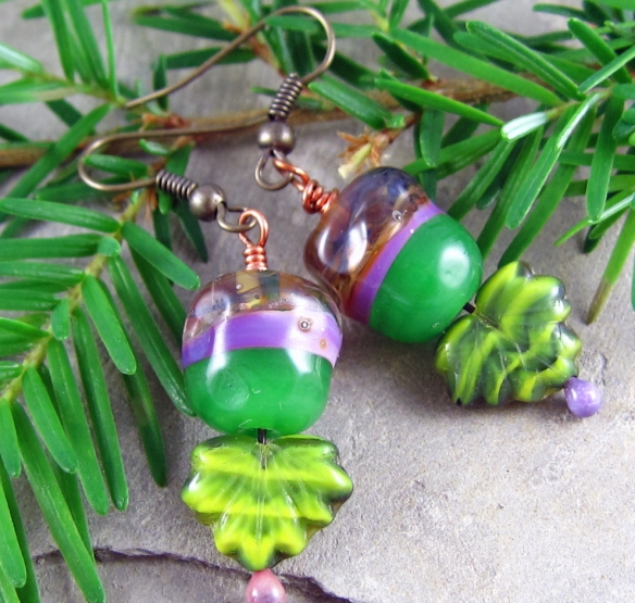 Handmade lampwork earrings with leaves