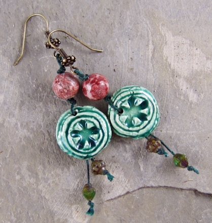 rustic green and pink handmade earrings