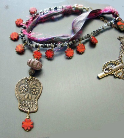 Sugar Skull Necklace by Linda Landig Jewelry