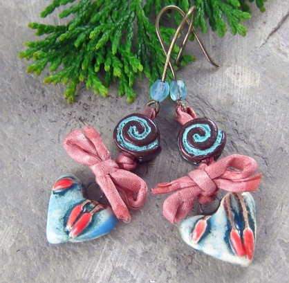 Handmade ceramic heart earrings