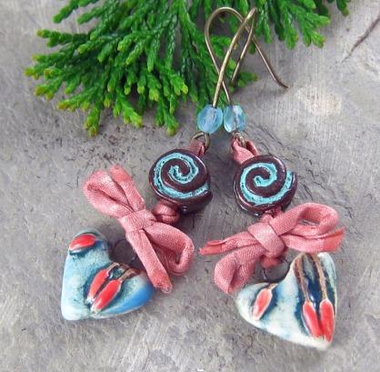 Handmade ceramic heart earrings
