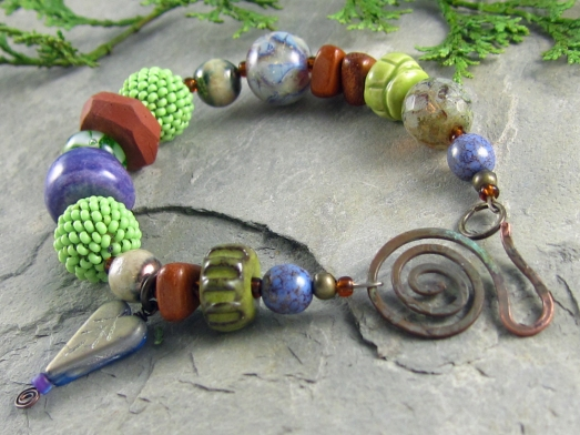 lampwork, ceramic and wood artisan bracelet