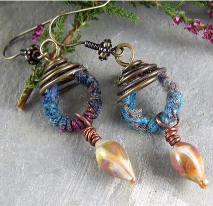 Spiral Fiber Earrings