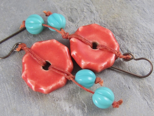 orange and turquoise earrings by Linda Landig Jewelry