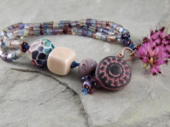 purple, blue and yellow, handmade, multi-strand bracelet