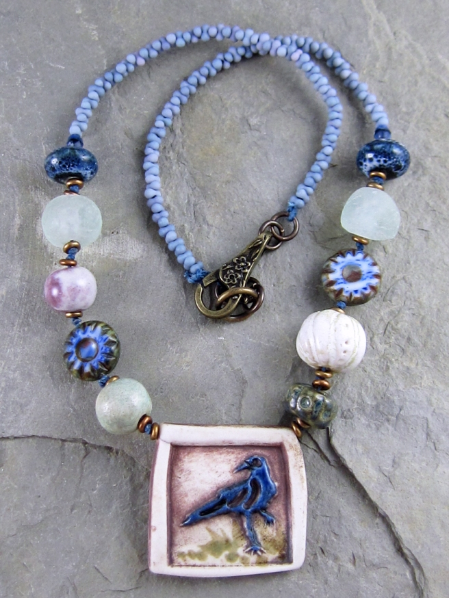 Blue Raven Necklace by Linda Landig