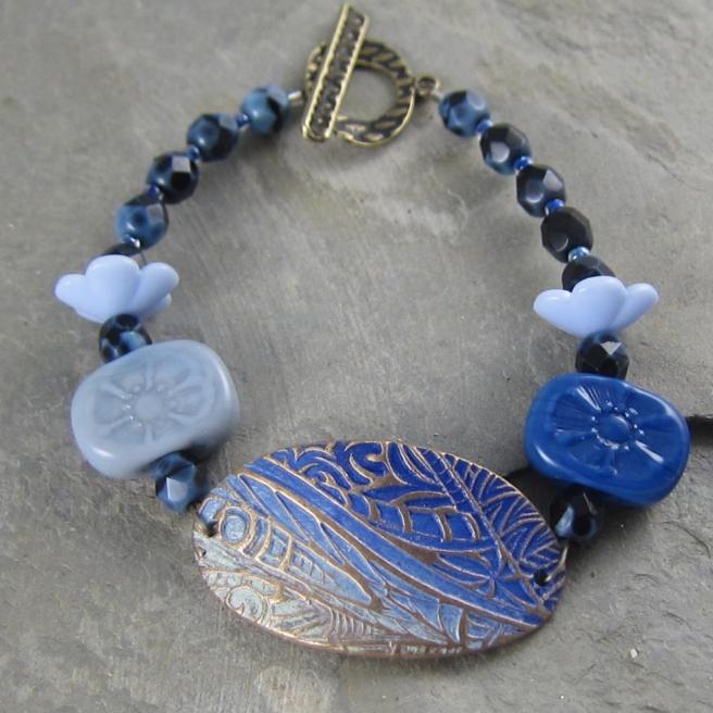Handmade blue bracelet by Linda Landig Jewelry