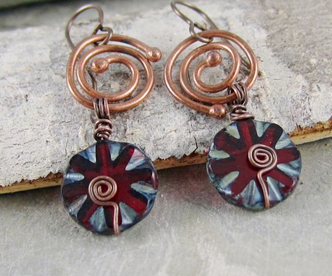 Handmade spiral earrings by Linda Landig Jewelry