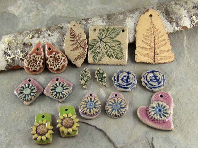 Garden themed ceramic jewelry components