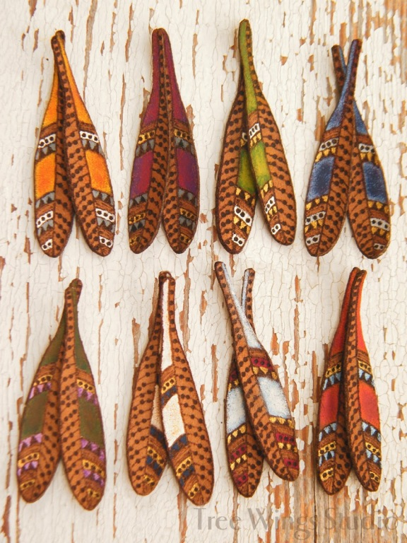 handmade leather feathers for earrings