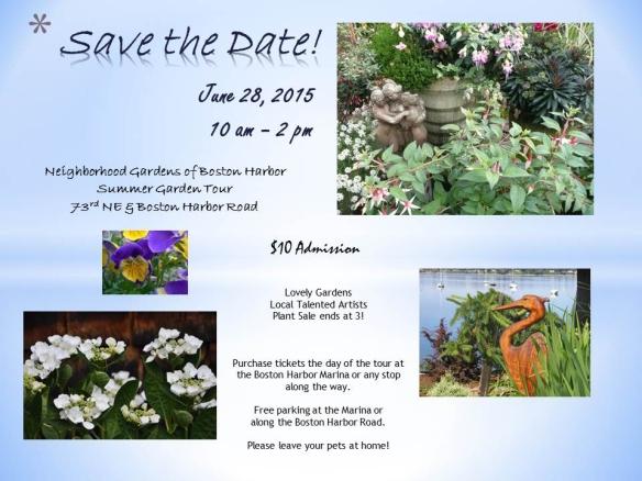 Flyer for the Boston Harbor Garden Tour & Art Show.