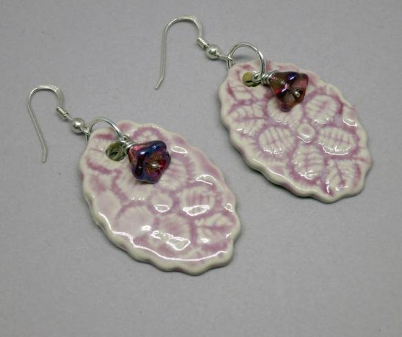 Lilac Lace Flower Earrings 3a