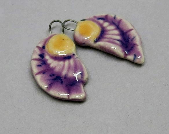Art Deco Earring Pair, Speckled Purple & Orange 3a