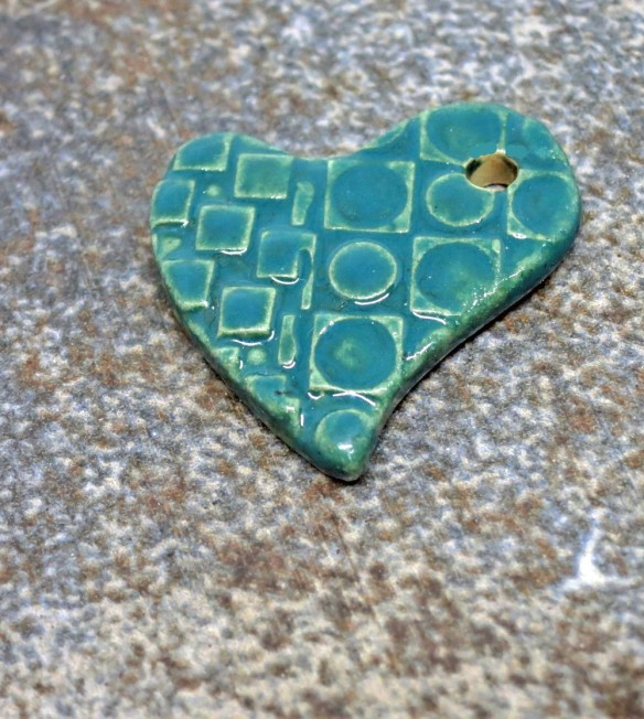 Green Teal Checkerboard Heart 5