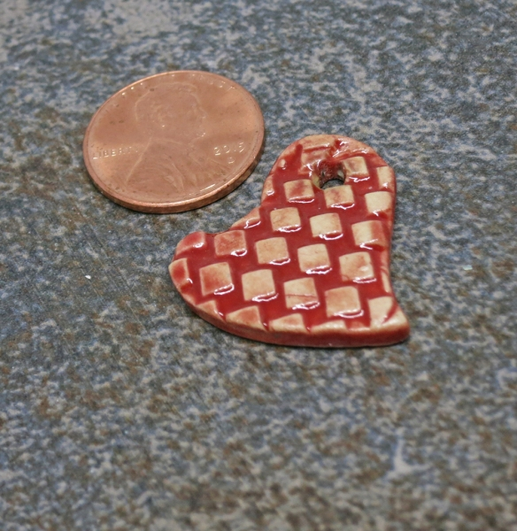 Red Checked Heart Pendant 2