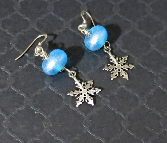 Blue earrings with silver snowflakes