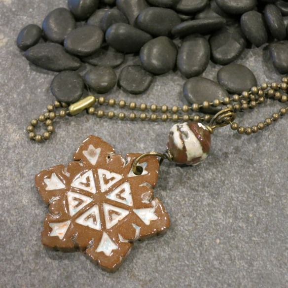 brown and white snowflake necklace 6